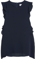 Carven Ruffled Crepe Top - Midnight blue