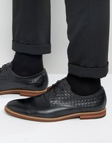 Aldo Sodano Weave Derby Shoes In Black Leather