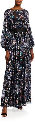 Badgley Mischka Sequin Embellished Blouson-Sleeve Floral Tulle Gown
