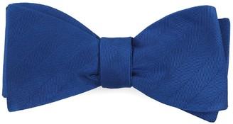 Tie Bar Herringbone Vow Royal Blue Bow Tie