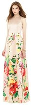Alfred Sung Women's Watercolor Floral Print Sleeveless Sateen A-Line Gown