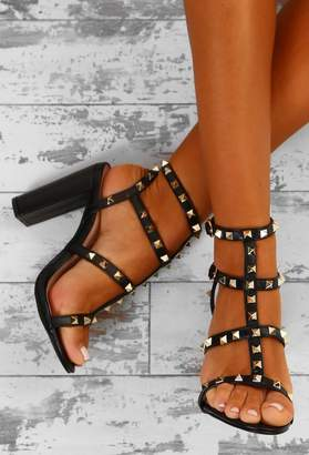 Pink Boutique Rock Steady Black Studded Cage Block Heels