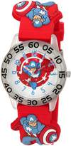 Marvel Boy's 'Captain America' Quartz Plastic Casual Watch, Color: (Model: WMA000041)