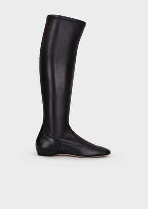 Giorgio Armani Stretch Nappa Leather Thigh-Highs With Inner Wedge
