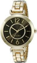 Nine West Women's NW/1768BKGB Glitter-Accented Gold-Tone Bracelet Watch