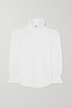 AVAVAV Ruffled Cotton-poplin Shirt - White