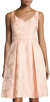 Maggy London Sleeveless Jacquard Fit-&-Flare Dress, Coral