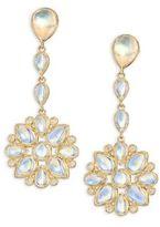 Temple St. Clair Mandala Royal Blue Moonstone, Diamond & 18K Yellow Gold Drop Earrings