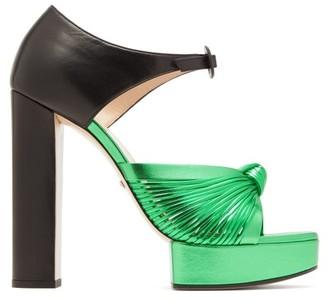 Gucci Crawford Knotted Metallic-leather Platform Sandals - Black Green