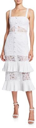 Alexis Lyssa Silk Tiered Ruffle Lace Midi Dress