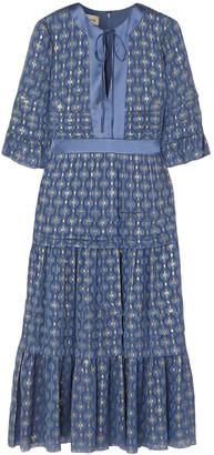 Temperley London Suki Tiered Satin-trimmed Metallic Fil Coupe Chiffon Dress