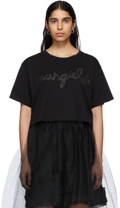 MM6 MAISON MARGIELA Black Logo Cropped T-Shirt