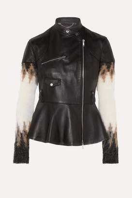 Altuzarra Anika Leather And Fair Isle Wool-blend Biker Jacket - Black