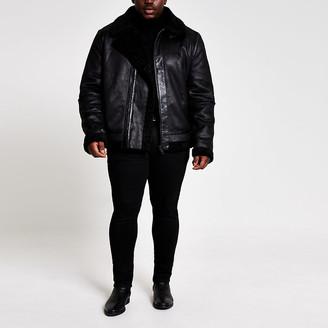 River Island Big and Tall shearling aviator jacket