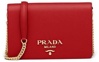 Prada logo-lettering Saffiano leather shoulder bag