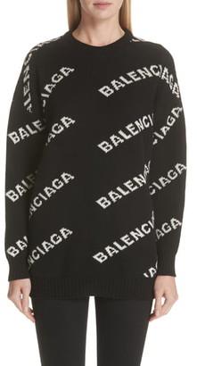Balenciaga Logo Knit Wool Blend Sweater