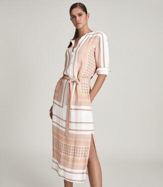 Reiss Harper - Scarf Print Midi Dress in Nude