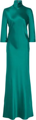 Galvan Margot Silk-Satin Turtleneck Gown