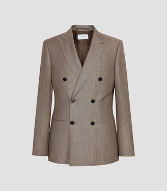 Reiss Sword - Linen Wool Blend Double Breasted Blazer in Brown