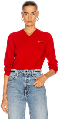 Comme des Garcons Double Emblem V Neck Sweater in Red | FWRD