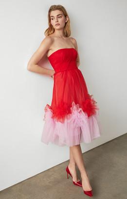 BCBGMAXAZRIA Tulle Flower Dress