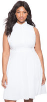 ELOQUII Plus Size Collared Fit and Flare Shirt Dress
