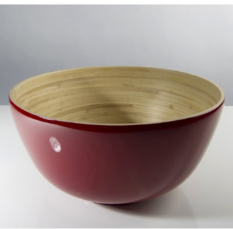 Bibol - 28cm Cherry Lacquered Bamboo Tchon Salad Bowl