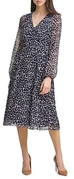 Karl Lagerfeld Paris Dot Print Chiffon Dress