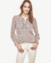 Ann Taylor Scalloped Square Pintuck Tie Neck Ruffle Blouse