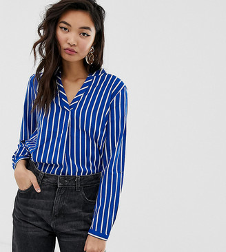 Esprit v-neck blouse in stripe blue and white