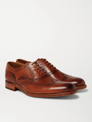 Grenson Dylan Burnished-Leather Wingtip Brogues