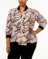 NY Collection Plus Size Floral-Print Bomber Jacket