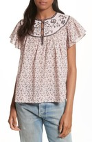 Rebecca Taylor Women's Embroidered Yoke Top