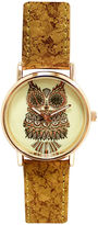 Decree Womens Yellow Owl Dial Cork-Look Brown Strap Watch