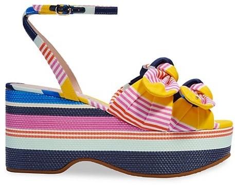 Kate Spade Julep Stripe Platform Wedge Sandals