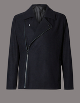 Autograph Wool Blend Tailored Fit Asymmetric Peacoat