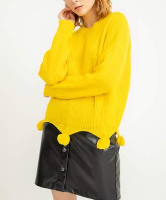 Simmly Women's Pullover Sweaters Yellow - Yellow Pom Pom-Hem Crewneck Sweater - Women