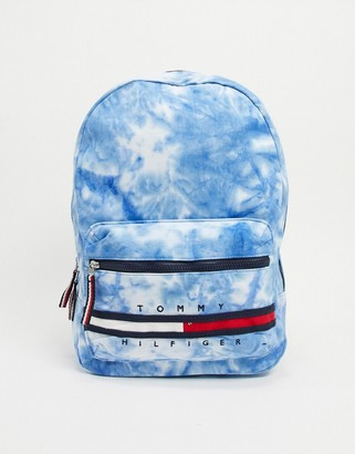 Tommy Hilfiger tie dye gino backpack in blue