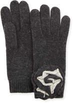Neiman Marcus Knit Floral Appliqué Gloves