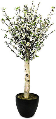 """One Kings Lane 60"""" White Blossom Tree with Planter - Faux"""