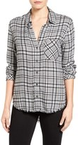 Women's Side Stitch Fray Hem Plaid Twill Shirt