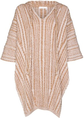 Chloé Cable-Knit Hooded Poncho