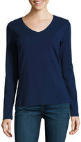 ST. JOHN'S BAY St. John's Bay Long Sleeve V Neck T-Shirt-Womens