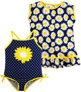 Wippette Little Girls Sunflower and Polka Dot 1Pc Swimsuit Dress CoverUp Set