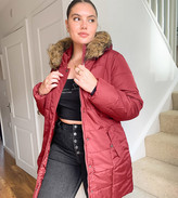 Thumbnail for your product : Junarose faux fur trim parka in burgundy