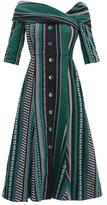 Erdem Iman Striped Cotton-blend Dress - Womens - Black Green