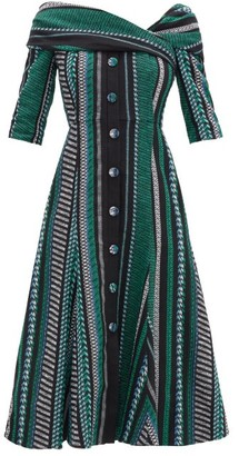 Erdem Iman Striped Cotton-blend Dress - Black Green