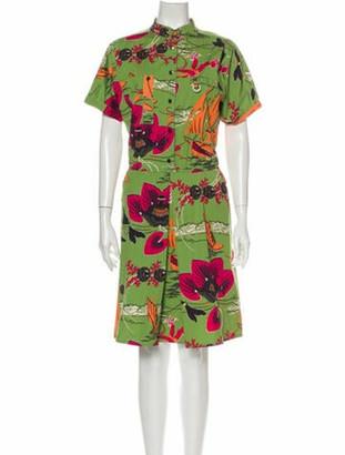 Etro Floral Print Knee-Length Dress Green