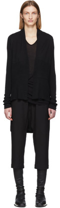 Rick Owens Black Wool Medium Wrap Cardigan