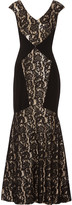 Theia Sequined corded lace and crepe gown